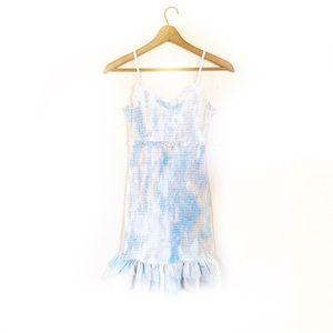Style Rack Smocked Tie Dye Print Mini Ruffle Dress